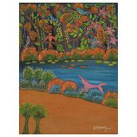 'Playful Dolphin' (2013) - Pink Dolphin Legend Painting Signed Fine Art