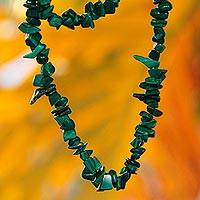 Malachite beaded necklace, 'Natural Muse' - Natural Malachite Beaded Strand Necklace