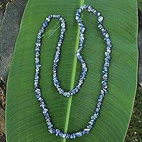 Sodalite beaded necklace, 'Light of Peace' - Artisan Crafted Sodalite Strand Necklace