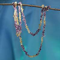 Amethyst and citrine long beaded necklace, 'Carioca Mystique' - Artisan Crafted Long Amethyst and Citrine Necklace