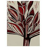 'Vermilion Bouquet' - Red and Black Linoleum Block Print