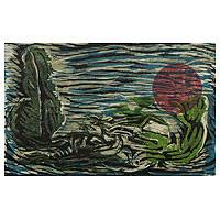 'August Moonlight' - Brazilian Landscape Woodcut Print