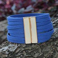 Gold accent wristband bracelet, 'Amazon Blue' - Wristband Bracelet with Golden Magnetic Clasp