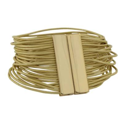 Golden Leather Bracelet with Gold Plated Clasp