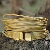 Gold accent leather wrap bracelet,