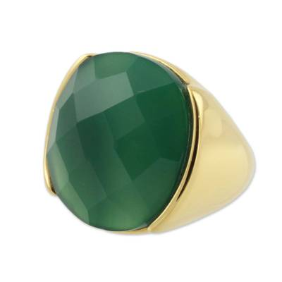 Faceted Green Agate Gold Plated Ring
