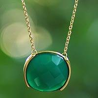 Gold plated agate pendant necklace, 'Hope' - Faceted Green Agate Gold Plated Necklace