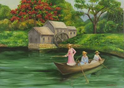 'The Lake House' - Brazilian Summer Scene in Oil on Canvas