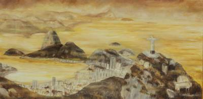 'Botafogo Bay' (2013) - Mixed Media Brazlian Landscape Painting