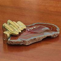 Bronze and caramel agate sculpture, 'Left Hand Agate I' - Bronze and Agate Soap Dish Sculpted Tray