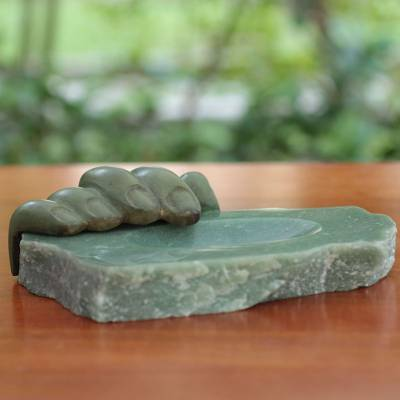 Bronze and green quartz sculpture, 'Right Hand Quartz' - Green Quartz and Patina Bronze Sculpted Tray