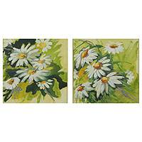 'Daisies' (diptych) - Diptych Signed Brazilian Painting