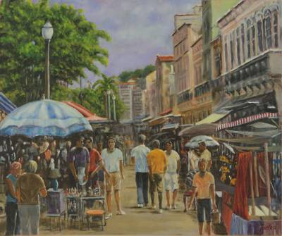 'Street Market on Rua do Lavradio' - Rio de Janeiro Street Scene Painting