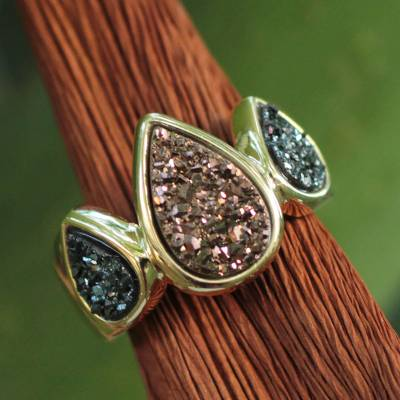 Brazilian drusy agate cocktail ring, 'Sparkling Life' - Brazilian Drusy Gold Plated Ring