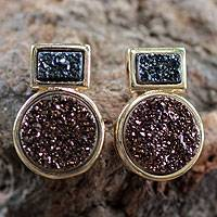 Gold plated drusy dangle earrings, 'Misty Midnight' - Brazilian 18k Gold Plated Drusy Agate Earrings