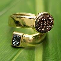 Gold plated drusy wrap ring, 'Amazon' - Gold Plated Brazilian Drusy Wrap Ring