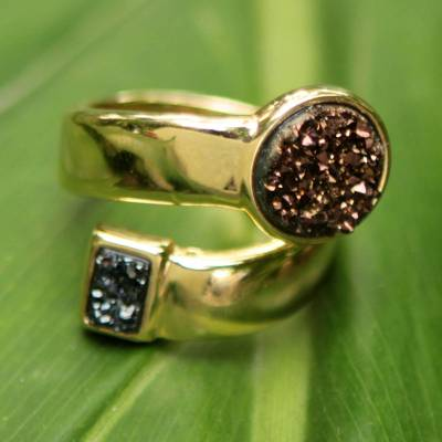 Gold Plated Brazilian Drusy Wrap Ring