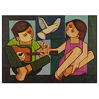 'Two Children' - Original Brazilian Cubist Painting Signed Fine Arts