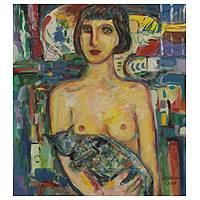 'Uninhibited' - Woman with Cat Original Signed Painting