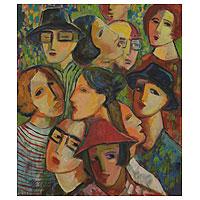 'Reunion' - Original Brazilian Painting Signed Fine Art