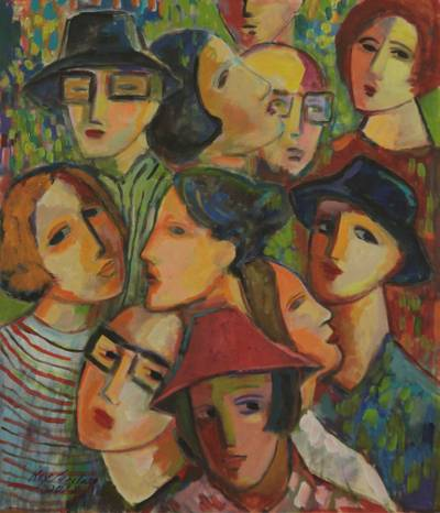 'Reunion' - Original Brazilian Painting Signed Fine Art
