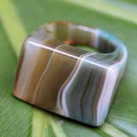 Agate cocktail ring, 'Mystique' - Green Agate Cocktail Ring