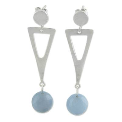 Brazilian Sterling Silver Earrings With Blue Chalcedony