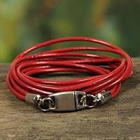Leather wristband bracelet, 'Brazilian Triple Crown' - Red Leather Wrap Bracelet