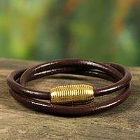 Leather wrap  bracelet, 'Triple Brown Embrace'
