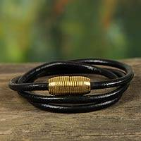Leather wrap bracelet, 'Triple Black Embrace' - Brazilian Leather Bracelet (Black)