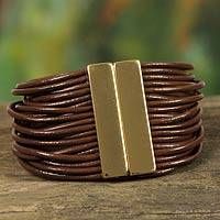 Leather wristband bracelet, 'Brown Brazilian Glam'