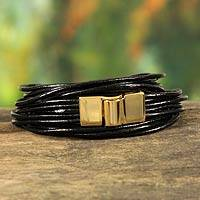 Leather wristband bracelet, 'Black Quadruple Spin'