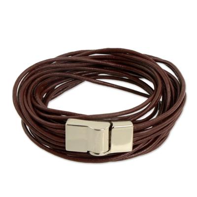 5-Strand Brown Leather Wrap Bracelet