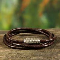 Men's leather wrap bracelet, 'Triple Brown Embrace'