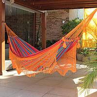 Cotton hammock, 'Carnaval' (double) - Brazilian Cotton Double Hammock with Orange Crochet