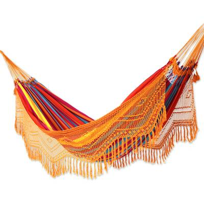 Handcrafted Red Striped Cotton Hammock with Orange Crochet Fringe