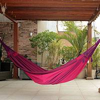 Cotton hammock, 'Icari Orchid' (double) - Fair Trade Cotton Double Hammock from Brazil