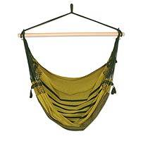 Cotton hammock swing, 'Amazon Forest' - Hand Woven Green Cotton Swing Hammock from Brazil