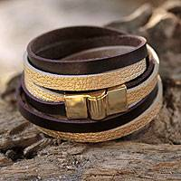 Gold accent wrap bracelet, 'Golden Brown Parallels' - Faux Leather Wrap Bracelet with Gold Plated Magnetic Clasp