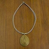 Golden grass pendant necklace, 'Jalapão Minimalism' - Brazilian Golden Grass Necklace with Gold Plated Accents