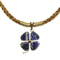 Golden grass and sodalite flower necklace, 'Lucky Clover' - Sodalite Pendant on Braided Golden Grass Necklace