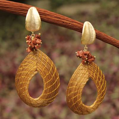 Golden grass and sunstone dangle earrings, 'Solar Chic' - Golden Grass and Sunstone Earrings with Gold Plated Accents