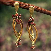 Golden grass and agate chandelier earrings, 'Natural Chimes' - Handmade Golden Grass Chandelier Earrings with Agate