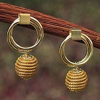 Golden grass and gold plate dangle earrings, 'Golden Balloons' - Brazilian Golden Grass Earrings with Gold Plated Accents