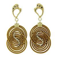 Golden grass and gold plated dangle earrings, 'Scintillating' - Fair Trade Brazilian Jewelry Handmade Golden Grass Earrings