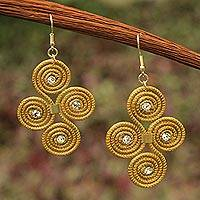 Golden grass dangle earrings, 'Hypnotic Jalap�o' - Artisan Crafted Golden Grass Hook Earrings From Brazil