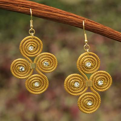 Golden grass dangle earrings, 'Hypnotic Jalapão' - Artisan Crafted Golden Grass Hook Earrings From Brazil