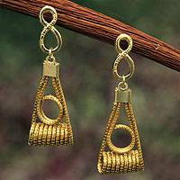 Golden grass and gold plated dangle earrings, 'May It Be Infinite' - Fair Trade Golden Grass Handcrafted Earrings from Brazil