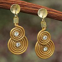 Golden grass and gold plated dangle earrings, 'Twin Suns' - Fair Trade Natural Jewelry Golden Grass Handcrafted Earrings