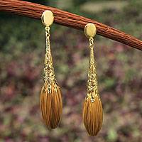 Golden grass and gold plate dangle earrings, 'Promises' - Handcrafted Golden Grass and Gold Plate Dangle Earrings